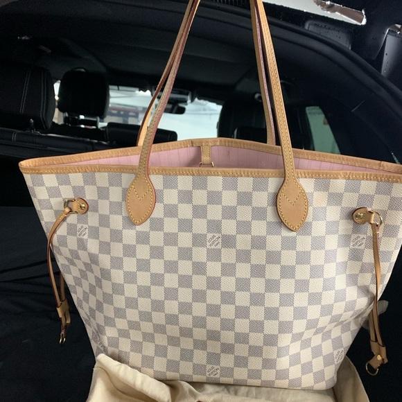 Louis Vuitton Bags Neverfull Mm Damier Azur Pink Inside Poshmark